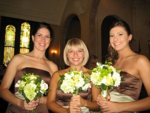 Three of the five bridesmaids